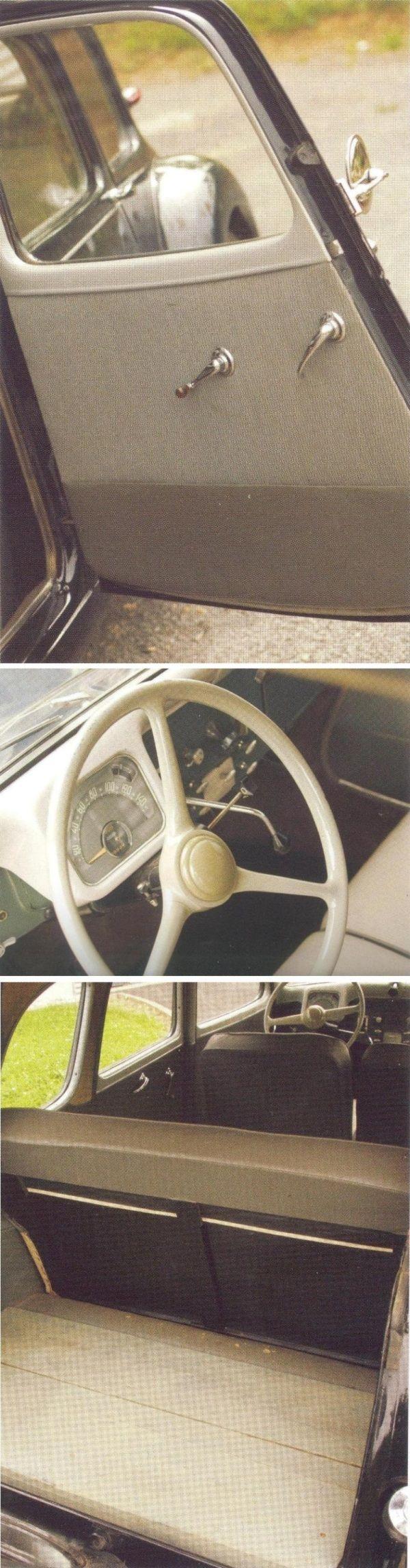 Citroën Traction Avant 11D Commerciale 1955: la roue de secours, placée dans son logement, bascule pour faciliter le chargement, les sièges arrière sont amovibles et le coffre est recouvert ici d'um placher bois une roue peinte en noir avec un enjoliveur bombé et chromé [photos Pierre-Yves Gaulard]