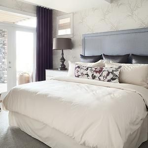Kelly Deck Design - bedrooms - contemporary silver wallpaper, silver branch patterned wallpaper, bedroom french doors, french doors with tra...