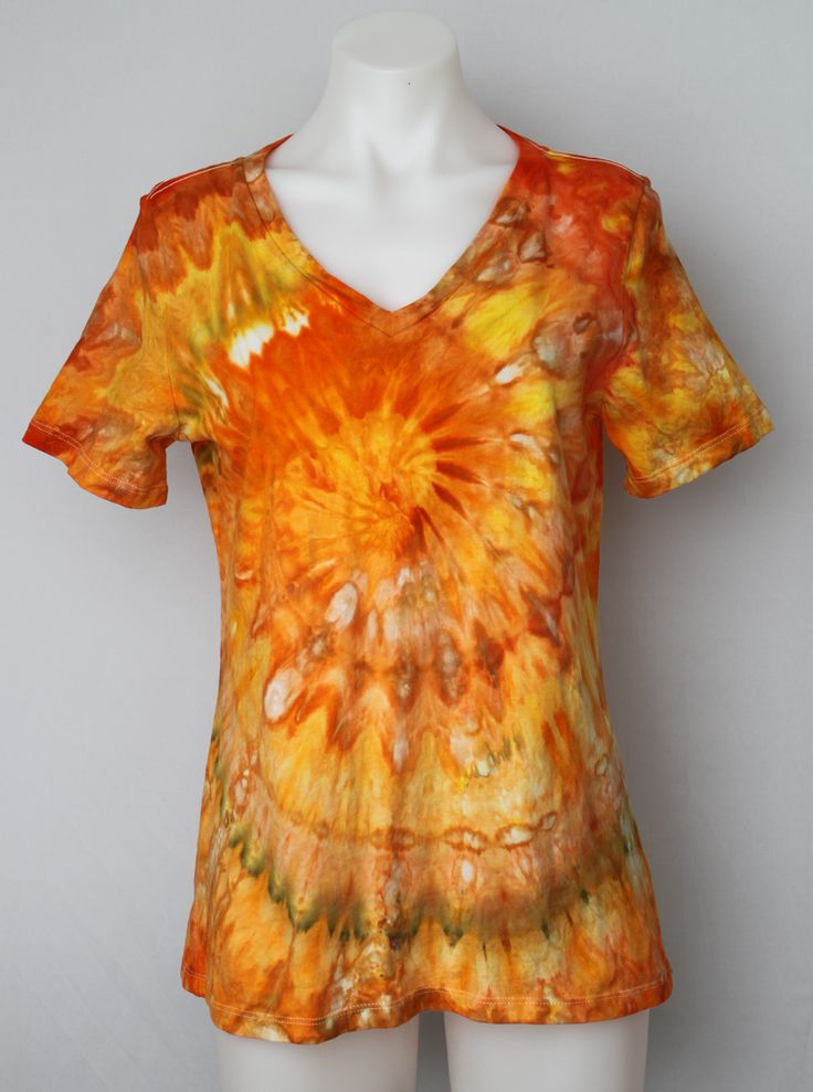 Tie dye Ladies Small V neck t shirt - Heat is On twist by A Spoonful of Colors Find this item on https://aspoonfulofcolors.com