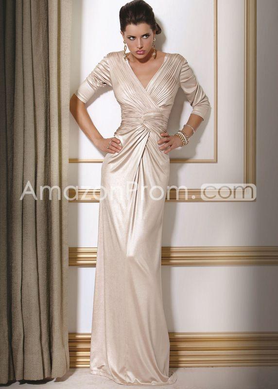 Graceful Draped Sheath/Column V-Neck 3/4-Sleeves Floor-Length Mother of the Bride Dresses