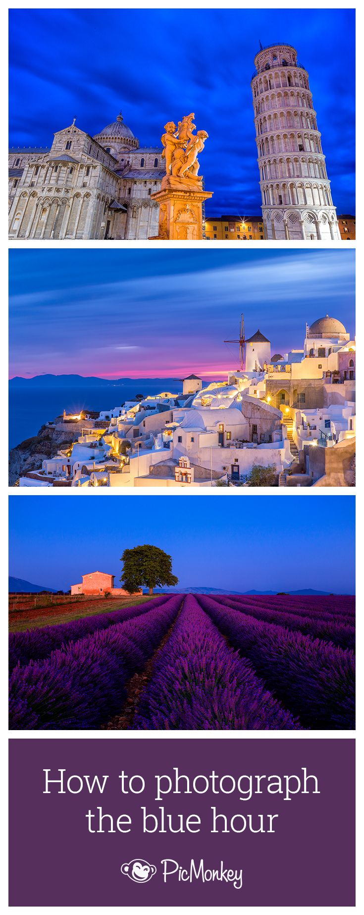 Learn how to photograph the stunning Blue Hour 30-45 minutes past sunset or before sunrise.