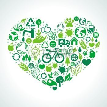 bike concept: ecology concept - heart design element made from icons and signs Illustration