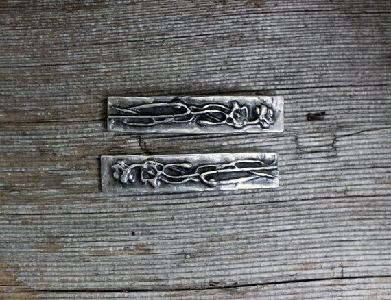 Poppy design silver pewter barrette pair by EarthlyCreature on Etsy