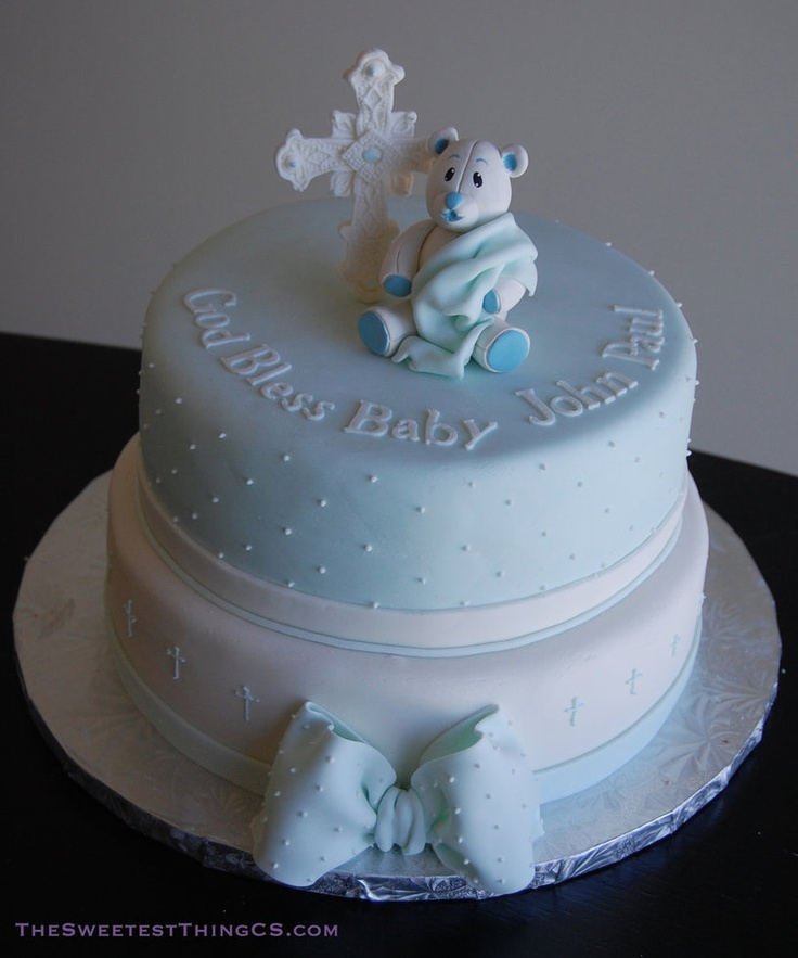 Baptism Cake via The Sweetest Things --- Like the dots along the edge and perhaps a baptismal figurine on the top to act as a keepsake for Gabby?