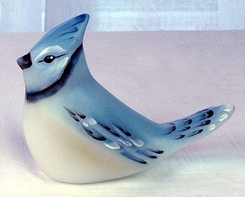 Fenton Art Glass Cobalt Blue Hand Painted Blue Jay Bird