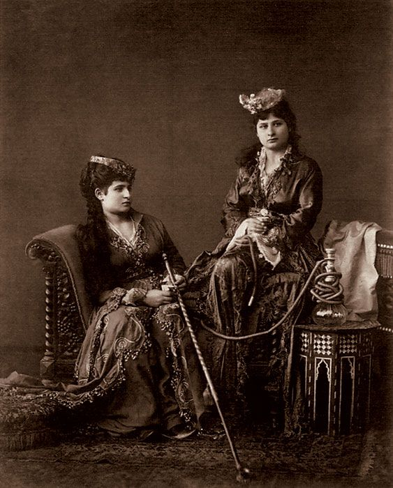 Untitled photo in a harem setting by Abdullah Frères.  The Ottoman Armenian brothers Vhichen (1820–1902), Hovsep (1830–1908) and Kevork Abdullah (1839–1918) operated a studio in Istanbul from 1858 to 1900, and sold the firm to Sébah and Joaillier. Known by their French name Abdullah frères (Abdullah brothers), they became official royal photographers to the Ottoman Sultan in 1863, and had the right to use the royal monogram.