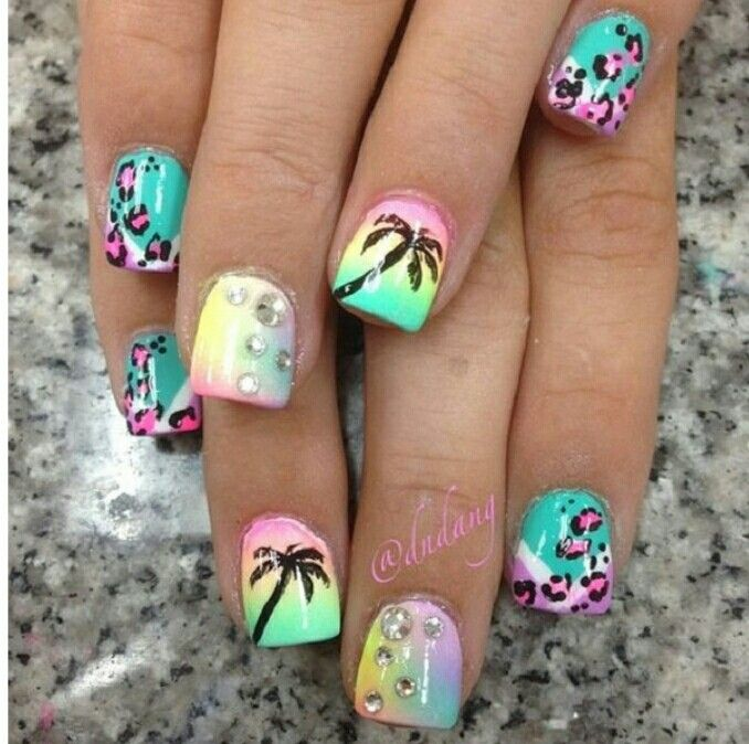353 best animalcharacterstory nails images on pinterest nail the nails have tons of designs on them that make it look exciting and fun you can see that the silhouette of the palm tree is painted on a rainbow inspired prinsesfo Choice Image