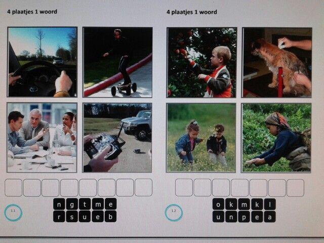 4 plaatjes 1 woord. Met woorden uit het woordenschatprogramma van Taal Actief groep 5. Te downloaden van digischool.