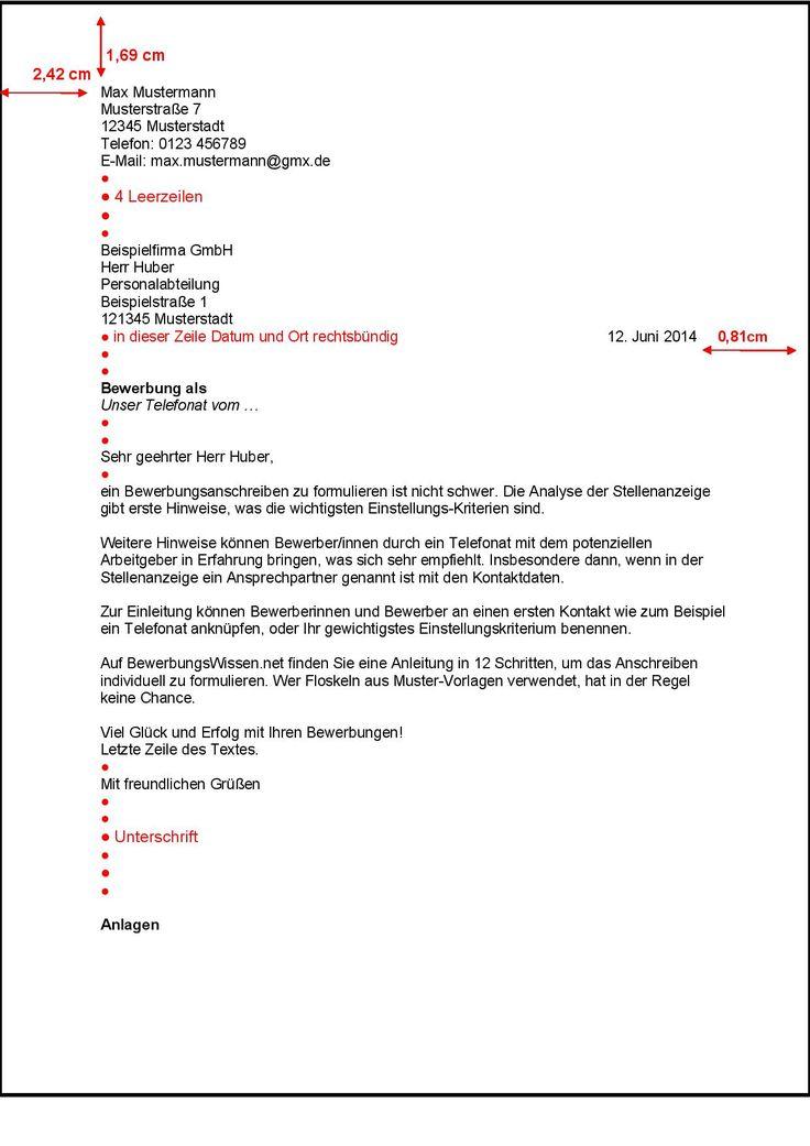 Bewerbungsanschreiben nach DIN 5008 Bewerbung - BewerbungsWissen.net