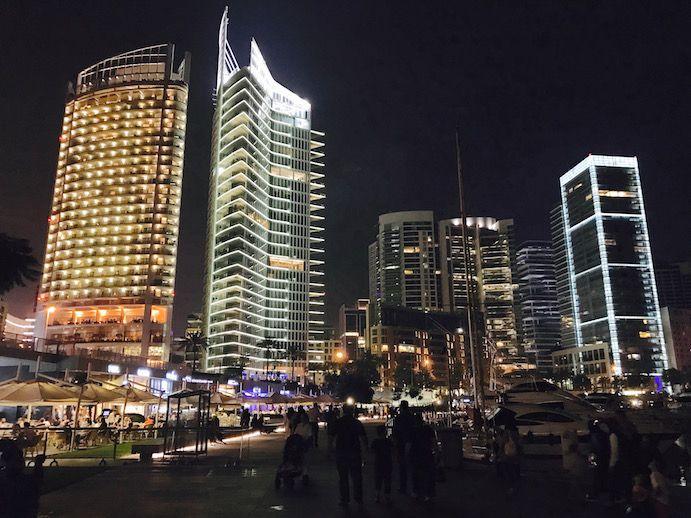 The marina at night in Beirut