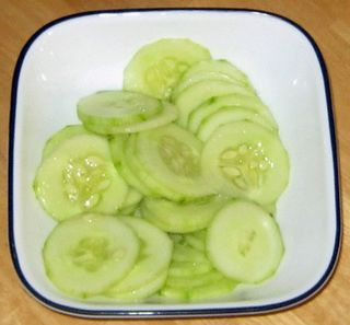 HCG Diet Phase 2 Cucumber Salad. Add a little garlic powder and pepper and yummy good!