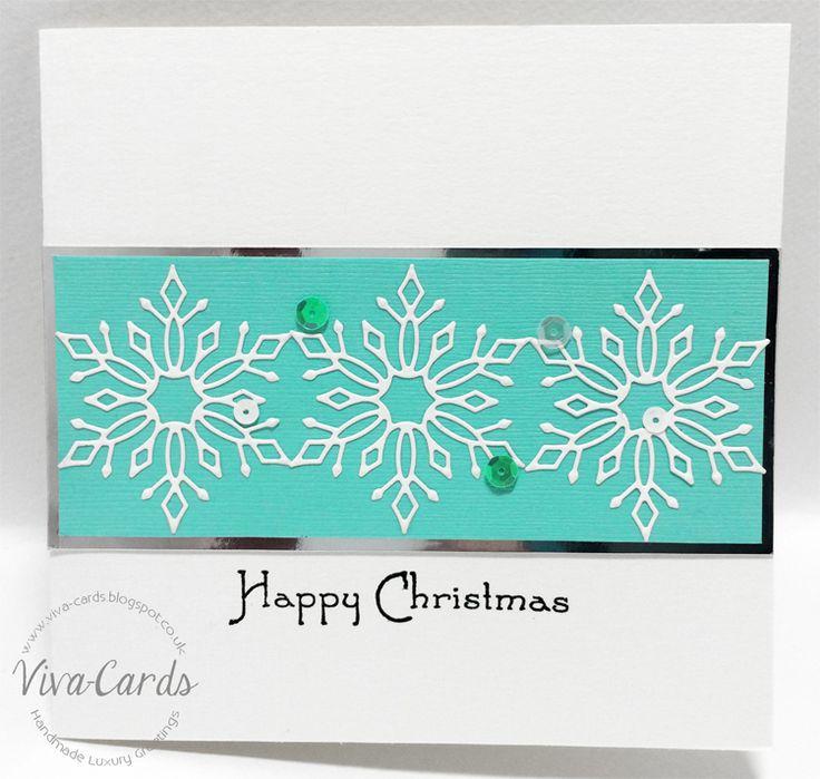 Handmade Card - Mint Snowflakes