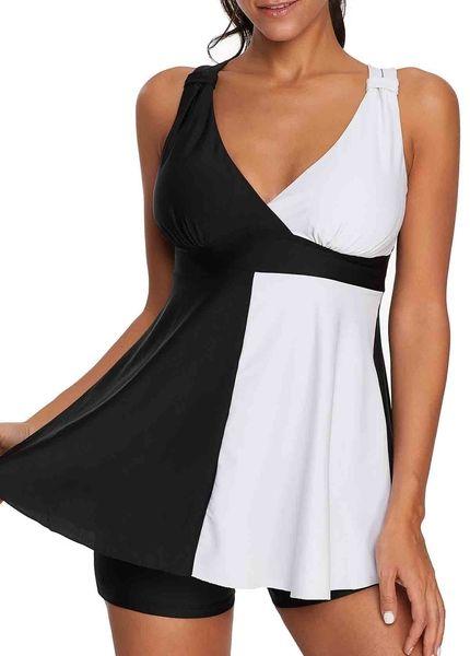 f6be032e00cb0 US$ 26.91 - Color Block Strappy Back V Neck Swimdress and Shorts ...