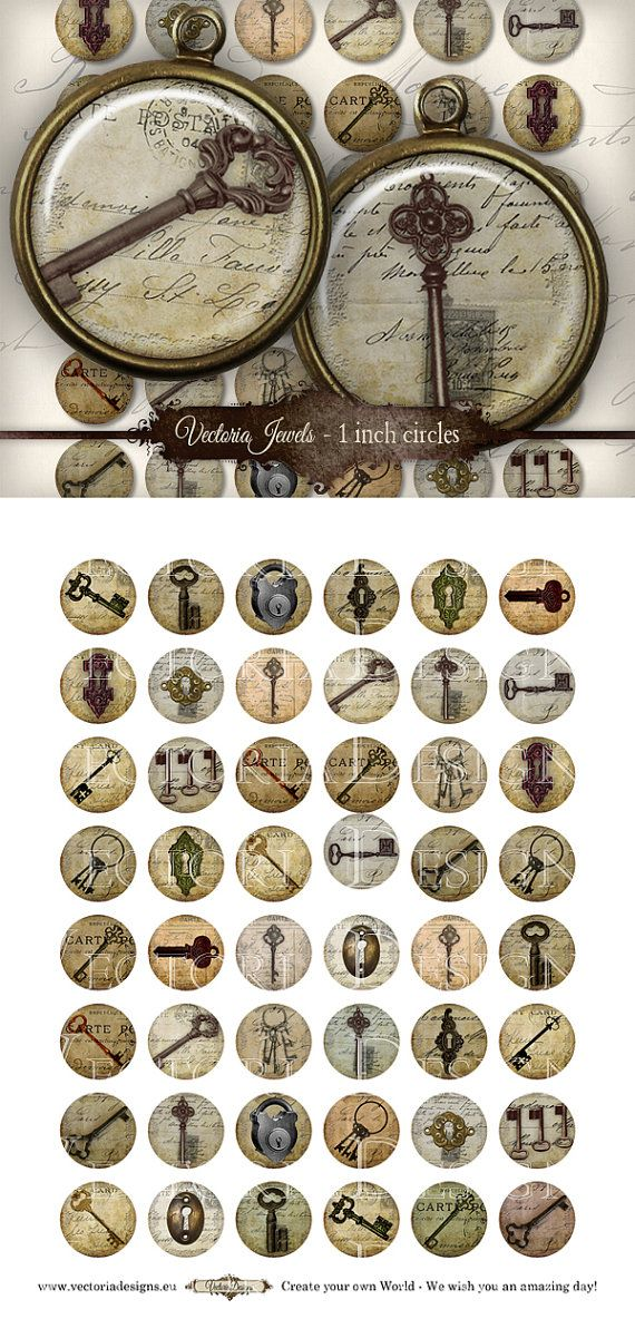48 Vintage Keys Bottle Caps 1 inch circles by VectoriaJewels