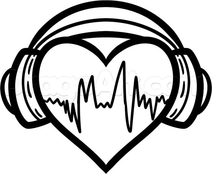 How To Draw Heart Headphones Step 6 Heart Drawing Music Drawings Easy Drawings