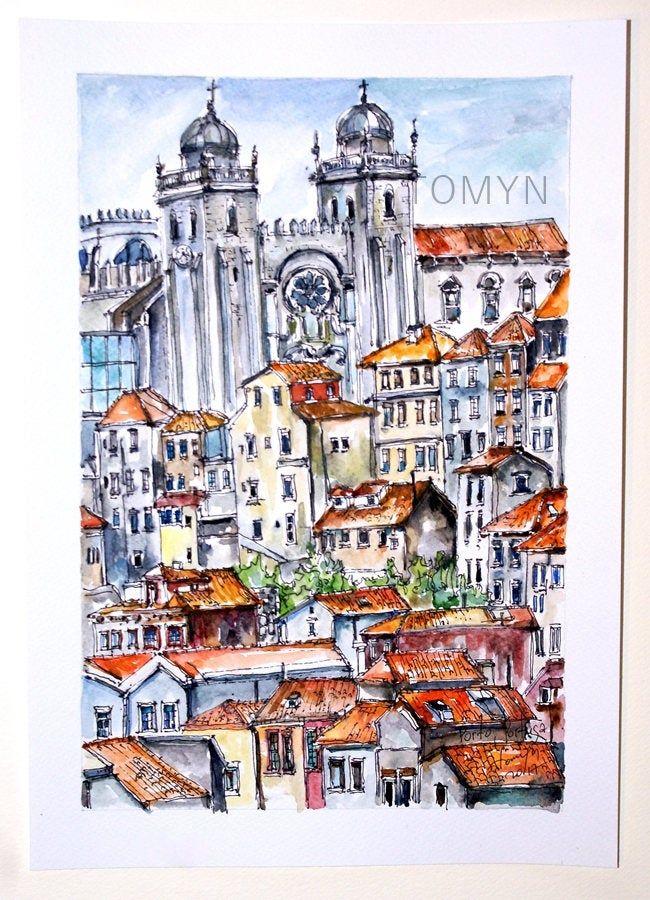 Porto Cathedral Art Portugal Rooftops Views Porto Original Etsy City Art Original Watercolor Painting Watercolor Scenery