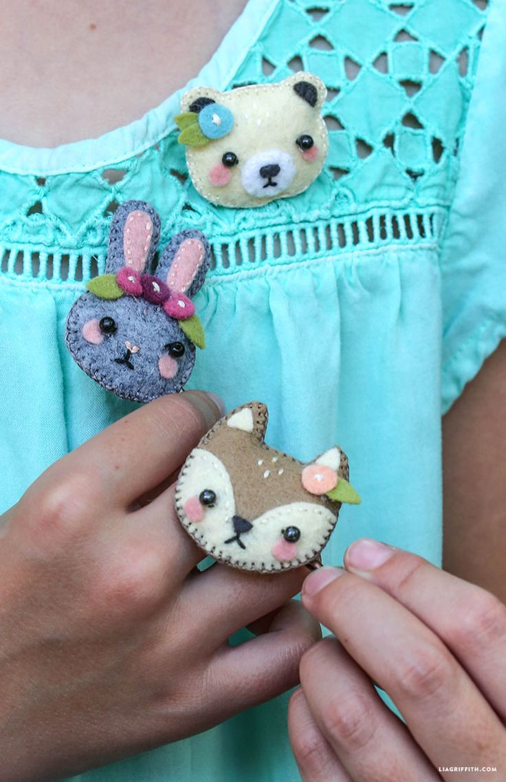 Felt stuffie pins, instructions by Lia Griffiths
