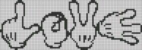 Points de croix *@* Cross-stitch Cartoon Gloves spelling Love