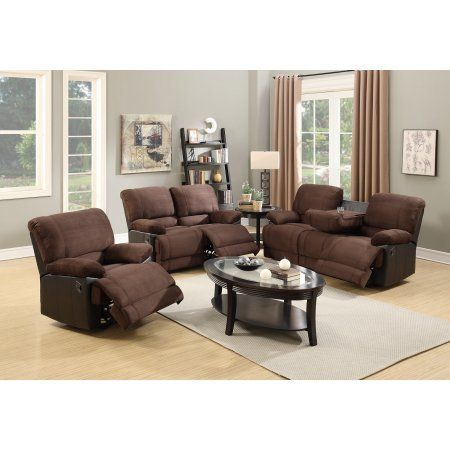 Super Plush Modern 3pc Sofa Set Motion Sofa w Drop Down Console Loveseat Recliner Faux Leather and Microfiber