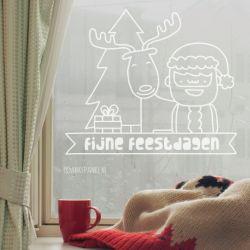 Kerstman + rendier raamtekening