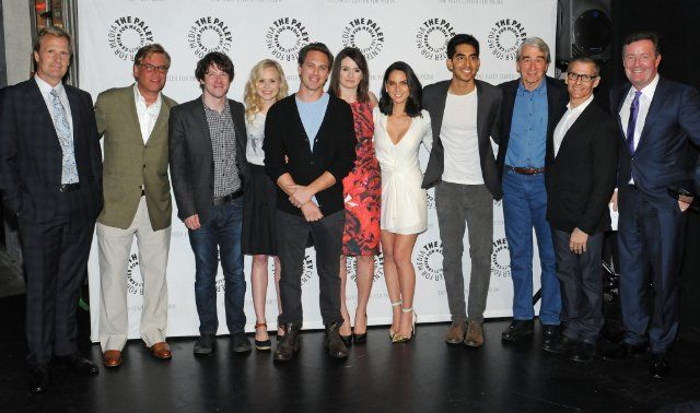 Jeff Daniels, Sam Waterston, John Gallagher Jr., Piers Morgan, Emily Mortimer, Alison Pill, Thomas Sadoski, Aaron Sorkin, Olivia Munn, Michael Lombardo and Dev Patel cast of The Newsroom