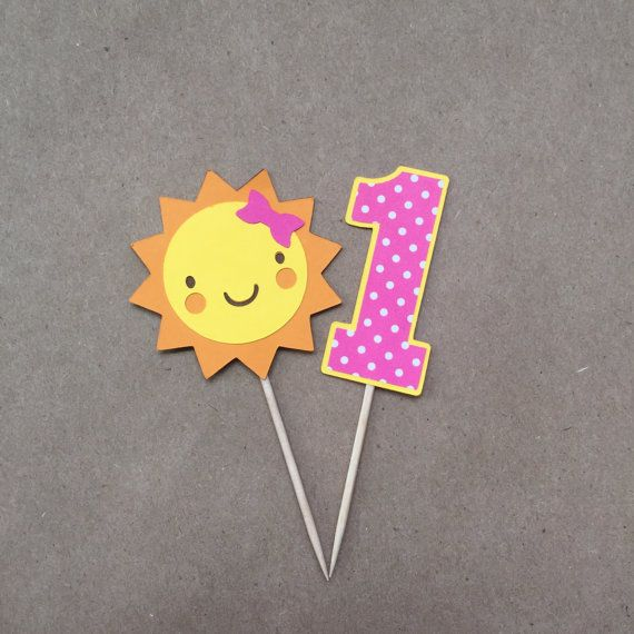 Celebrate your childs birthday with a set of You Are My Sunshine cupcake picks! Makes a great addition to your baby shower decorations too! Perfect for decorating cakes, cupcakes, snacks and much more! Each sun measures approximately 2 wide and 3 3/4 tall. Each number 1 measures 1 wide and 3 3/4 tall. Includes 6 of each designs. This set includes pink hair bow on sun and pink polka dot printed paper on number 1. All picks are diecut onto printed paper and yellow, orange, brown, and pink…