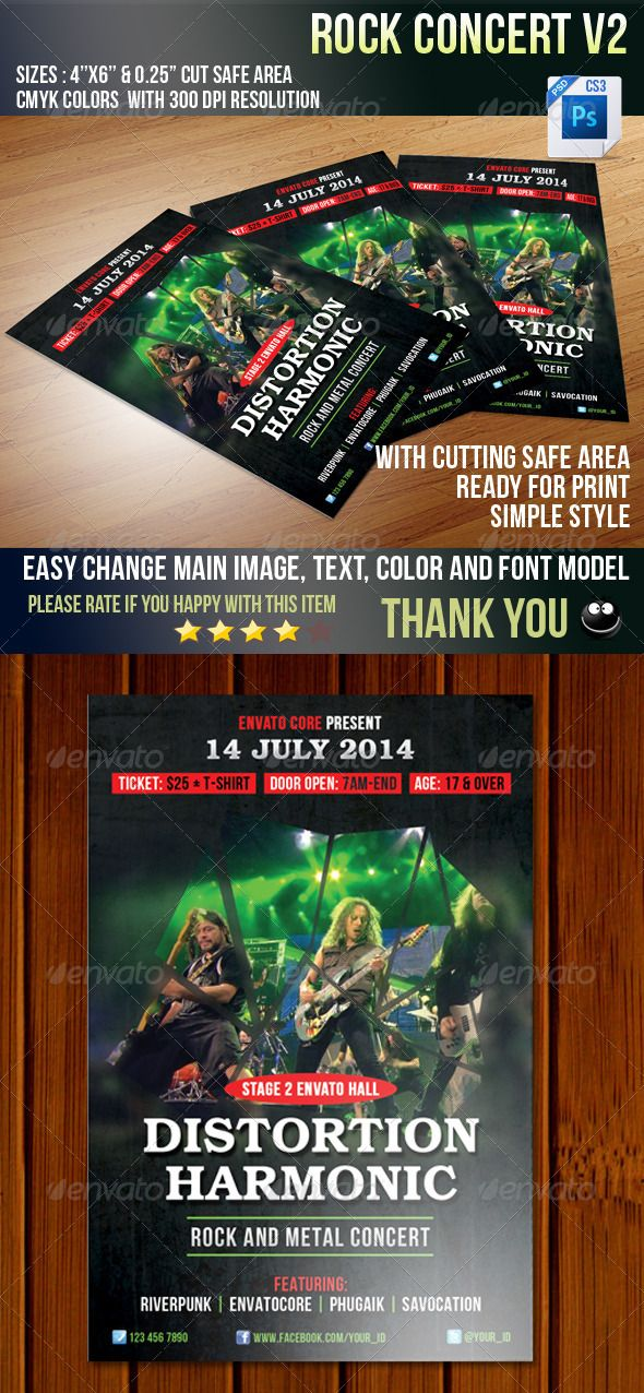 Rock Concert V2 — Photoshop PSD #indie #underground • Available here → https://graphicriver.net/item/rock-concert-v2/5807980?ref=pxcr