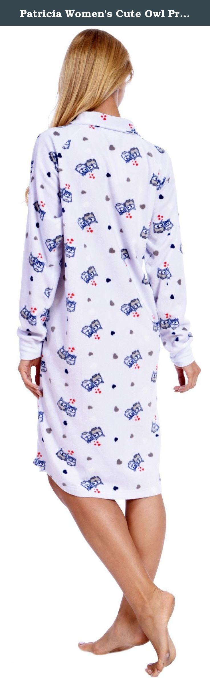 "Patricia Women's Cute Owl Print Polar Fleece Nightgown PJ Lounger with Pockets (L, Lavender Owl Love). Soft beautiful 42"" Collared Lounger features the adorable Owl Love Print with 3/4 Zip down and Two side-seam pockets. Get comfortable with this durable relaxed fitting long sleeve sleepshirt with comfort fit elastic wrist cuffs. Well designed with premium quality ultra soft, luxurious plush material. Well made with double-stitched reinforced seams for long lasting durability. Features..."