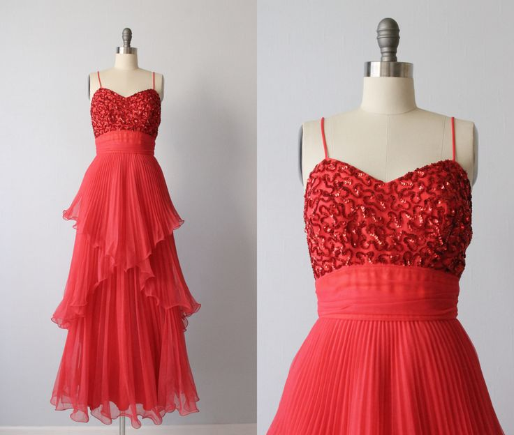 Vintage 1970s red chiffon dress with  a red sequined bodice, skinny straps,  gathered sash waist and a tiered chiffon  skirt. Concealed back