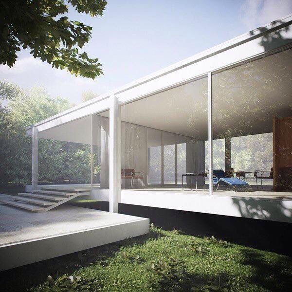 Farnsworth House - Designed by #Mies van der Rohe - www.bauhaus-movement.com