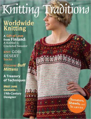 Fra bokhyllen: En artikkel om historien bak trøyen. Mønster på en trøy finnes også i bladet i tillegg til mønster på et par votter som er inspirert av trøyen. Engelsk.