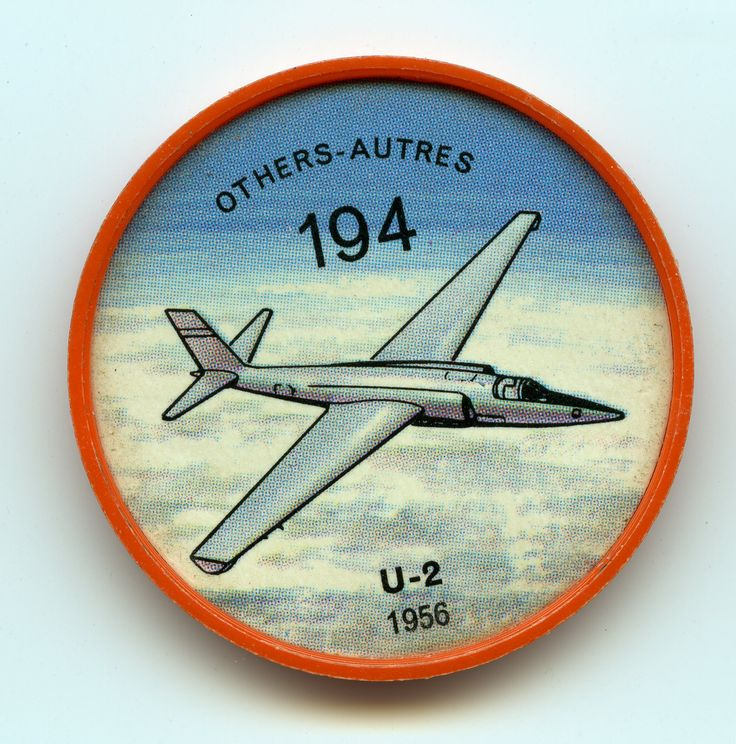 Jell-O Coin 194 - U-2 (1956) - Custom-built for aerial espionage, the U.S. Lockheed U-2 provoked menacing gestures from Russia when, in May, 1960, one of the type was shot down near the Russian city of Sverdlovsk. Some 25 were built, and many are still in use for high-altitude weather and photo-reconnaissance. The U-2 is reputed to have a ceiling of 90,000 feet. Specifications: Wingspan 80 feet. Length 49 feet, 7 inches. Weight 17,270 pounds. Speed 460 mph. Range 2,600 miles.