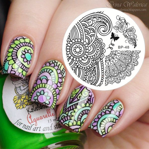$2.99 Arabesque Patterns & Peony Image Nail Art Stamping Template Image Plate BORN PRETTY BP48 - BornPrettyStore.com