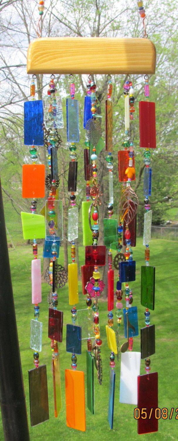 Stained Glass Art Wind chime...Hobby Lobby has glass already cut into pieces. Just drill a hole and add fishing line and beads.