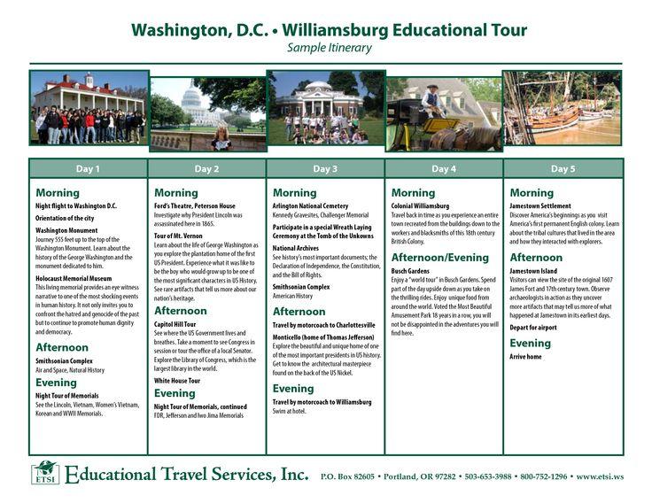 Washington, D.C. • Williamsburg Educational Tour Sample ...