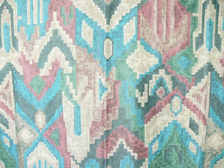 Vintage 90s Southwestern Fabric Shower Curtain Ikat Aztec Ethnic Print Earth Jewel Tones Turquoise Adobe Clay Tribal by PaddywhackKnickKnack on Etsy