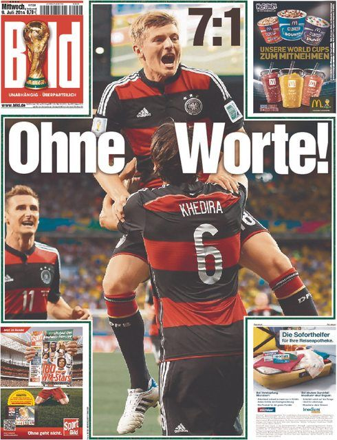 Front page of 12 different German newspaper after Germany defeats Brazil 7-1.
