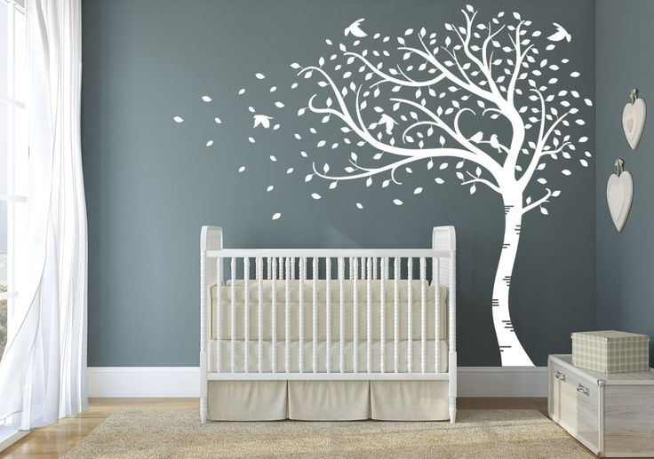 Design Divils Premium Large Sweeping Autumn Tree with leaves and birds. Quality Vinyl Matte Wall Decal Sticker (e. All White): Amazon.co.uk: Kitchen & Home