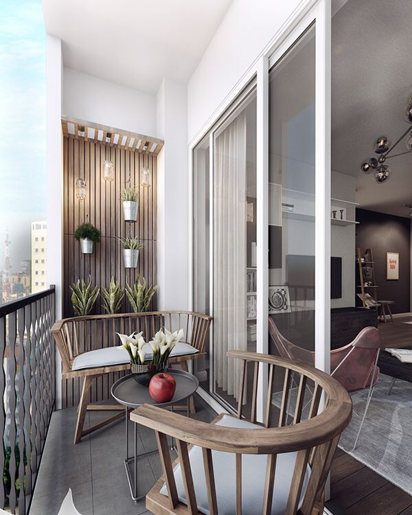 Another comfortable balcony design. Pretty good use of limited space.