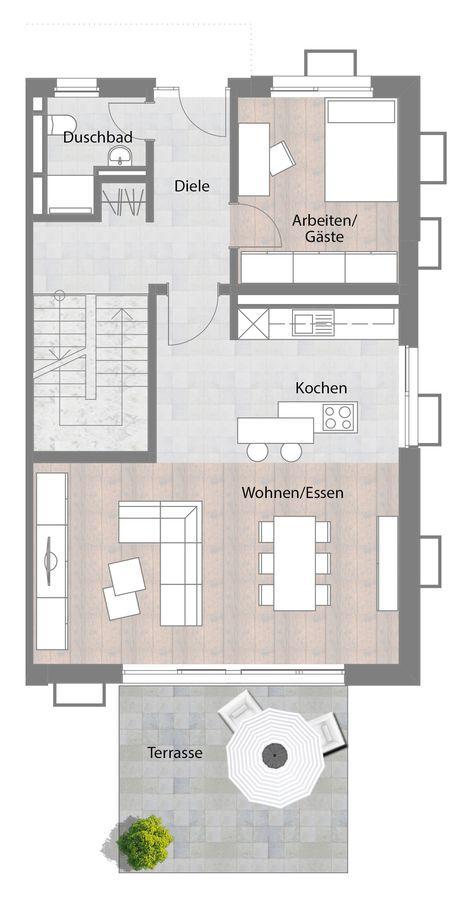 Doppelhaushälfte – Typ B – Erdgeschoss mit Terrasse 73,60 m² – RoxyFOBM
