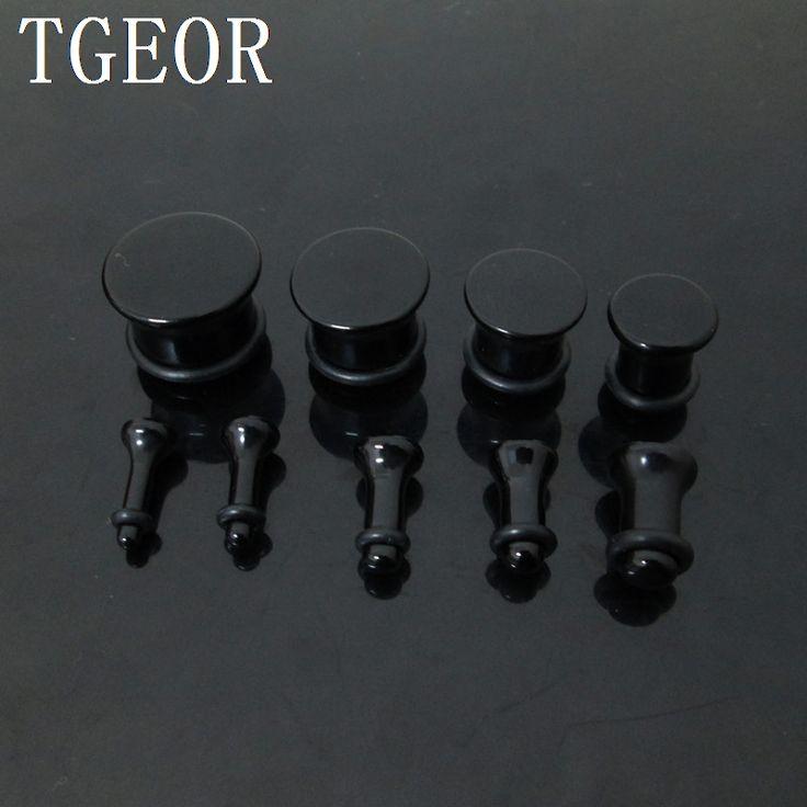 Free shipping wholesale Fashion Small MOQ 180pcs mixed 9 gauges black UV single saddle acrylic ear plug