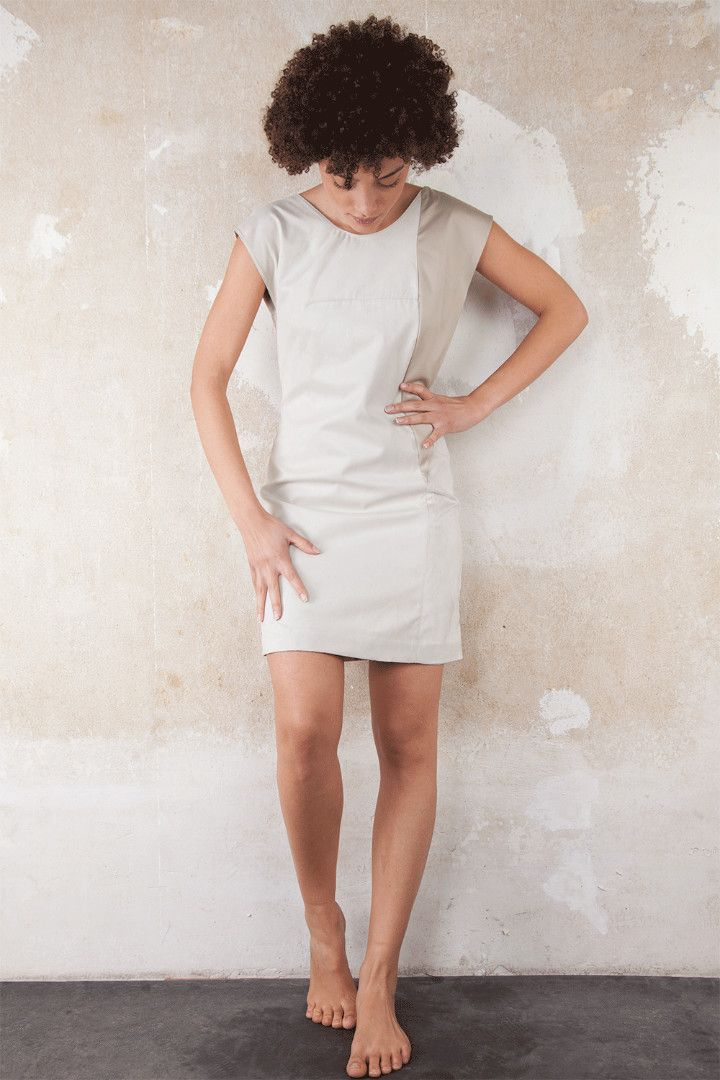 1-wing creme dress. Upcycled item. Designed and manufactured locally in Berlin, by Sack & Asche. #fashion #womanfashion #fancydresses #whitedress #upcycledfashion #upcycling #localfashion #localdesigner #handmadefashion #berlinfashion #berlindesigner #elegantfashion #officeoutfit #outfitinspiration