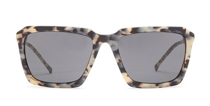 THE RIGHT ANGLE I Rectangular shape with angular facets for a sharp look.  Milky leopard acetate.  Grey lens.