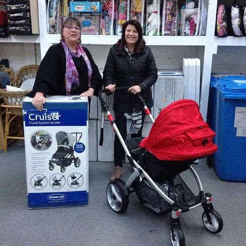 This is Di from Eureka Mums with Kate from Geelong Mums. They were visiting last night for a committee meeting and took a couple of these brand new Steefcraft Cruiser prams worth $299 each back with them. They were donated by Britax Australia who are an official supplier to St Kilda Mums and they are supporting our #PushforPrams campaign by donating 11 of these beauties. Thank you!