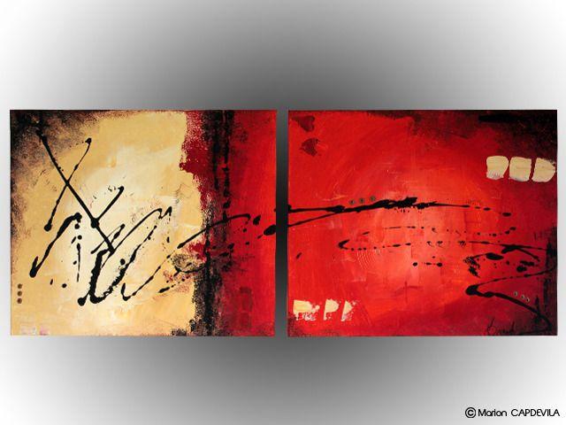 FLAME tableau peinture acrylique art abtrait