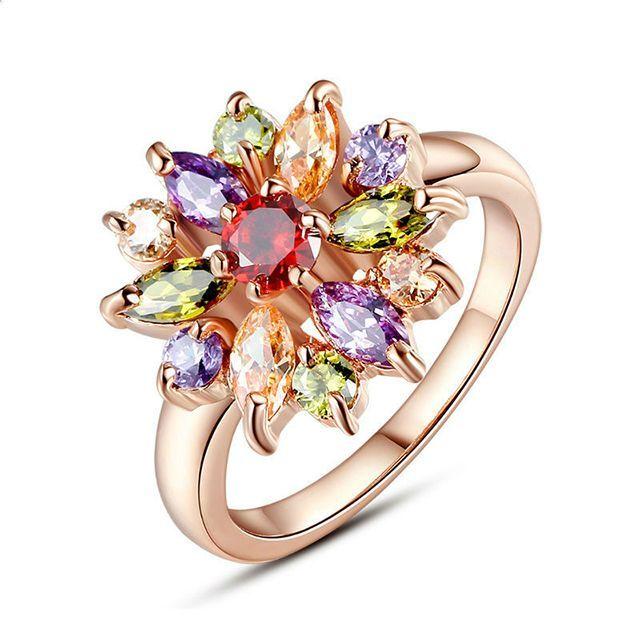 Женское кольцо - Алмазный цветок Золотой с разноцветным камнем