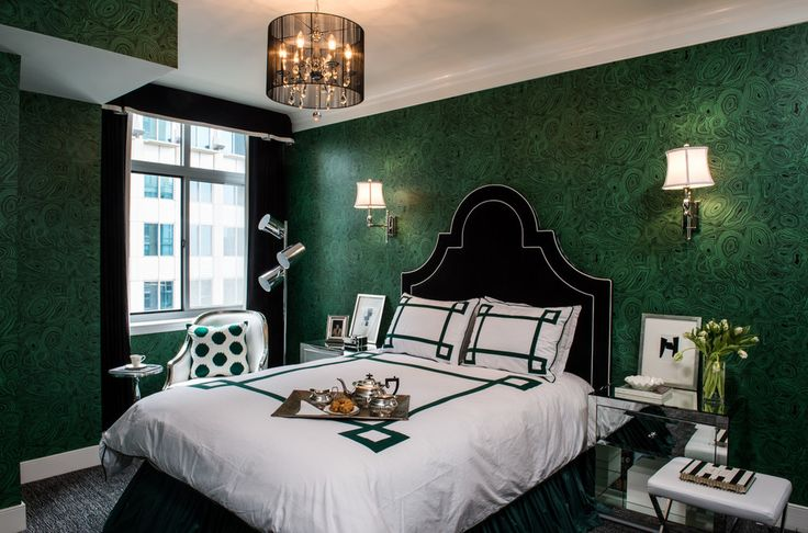 Superb Old Hollywood Glamour decorating ideas for Engaging Bedroom Transitional design ideas with black black headboard