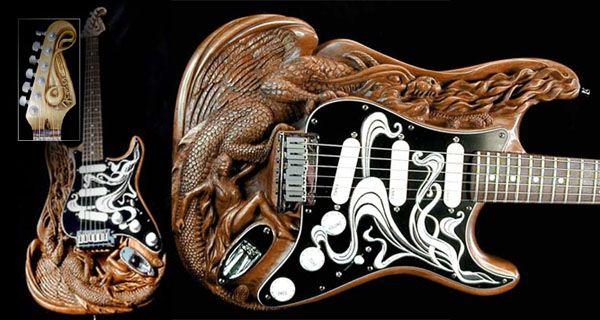 Alder Stratocaster Body With Carved Dragon Guitars