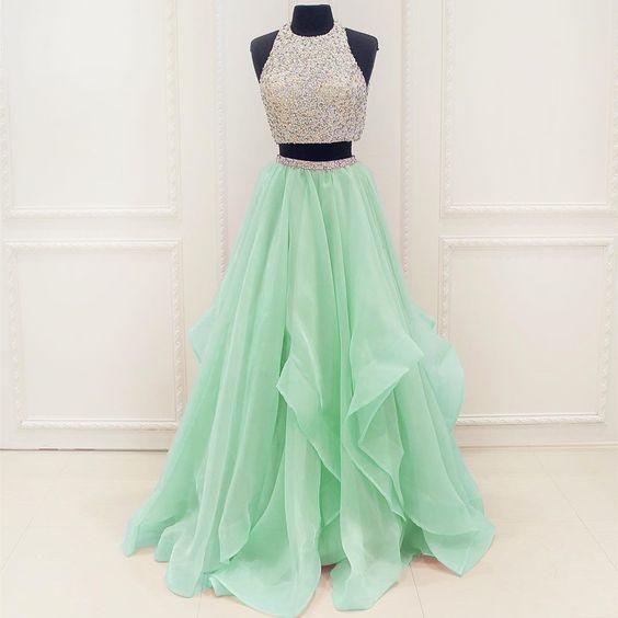 2 Pieces Junior Mint Beaded Top Popular Cheap Long Prom Dresses, WG717