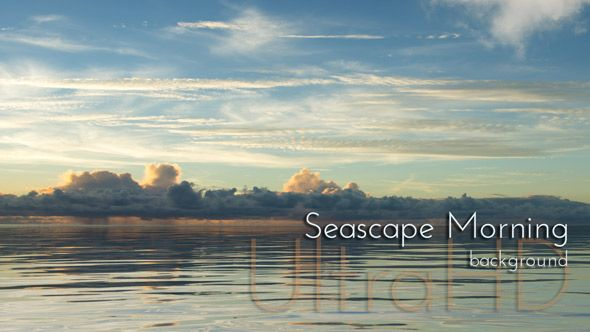 Seascape Morning with Sunrise Water and Clouds Animation Background.